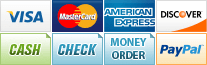 We accept Visa, MasterCard, American Express, Discover, Cash, Check, Money Order and PayPal.